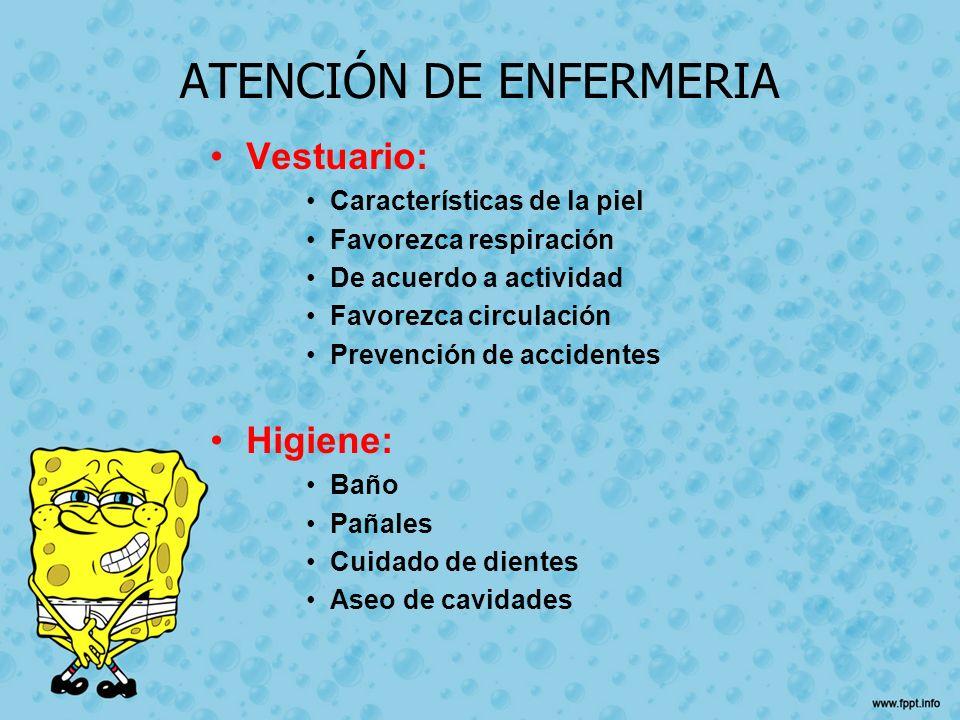 ATENCIÓN DE ENFERMERIA Vestuario: Características de la piel Favorezca respiración De acuerdo a actividad Favorezca circulación Prevención de accident