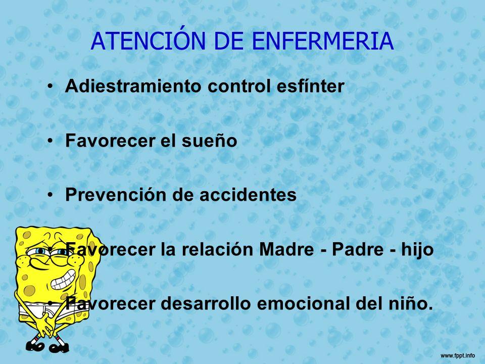 ATENCIÓN DE ENFERMERIA Adiestramiento control esfínter Favorecer el sueño Prevención de accidentes Favorecer la relación Madre - Padre - hijo Favorece