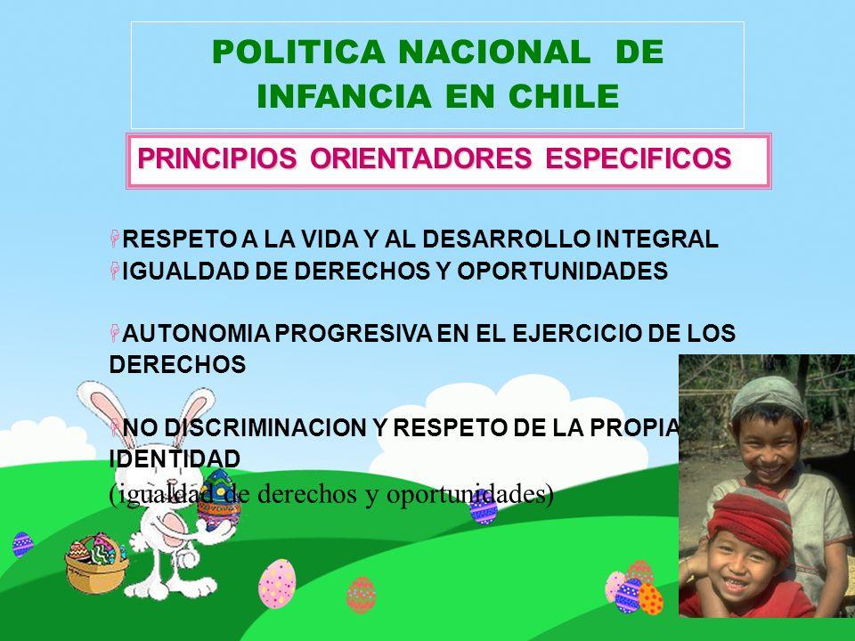 POLITICA NACIONAL DE INFANCIA EN CHILE HRESPETO A LA VIDA Y AL DESARROLLO INTEGRAL HIGUALDAD DE DERECHOS Y OPORTUNIDADES HAUTONOMIA PROGRESIVA EN EL E