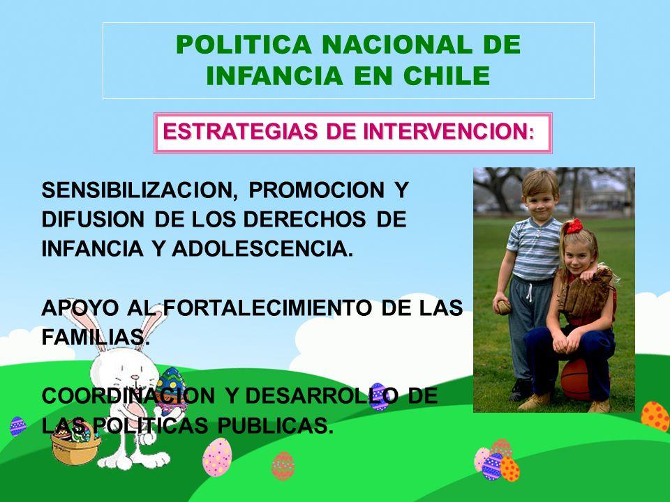 POLITICA NACIONAL DE INFANCIA EN CHILE SENSIBILIZACION, PROMOCION Y DIFUSION DE LOS DERECHOS DE INFANCIA Y ADOLESCENCIA. APOYO AL FORTALECIMIENTO DE L