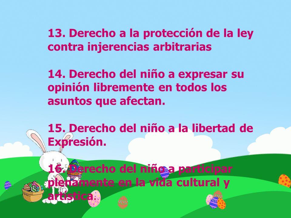 13. Derecho a la protección de la ley contra injerencias arbitrarias 14. Derecho del niño a expresar su opinión libremente en todos los asuntos que af
