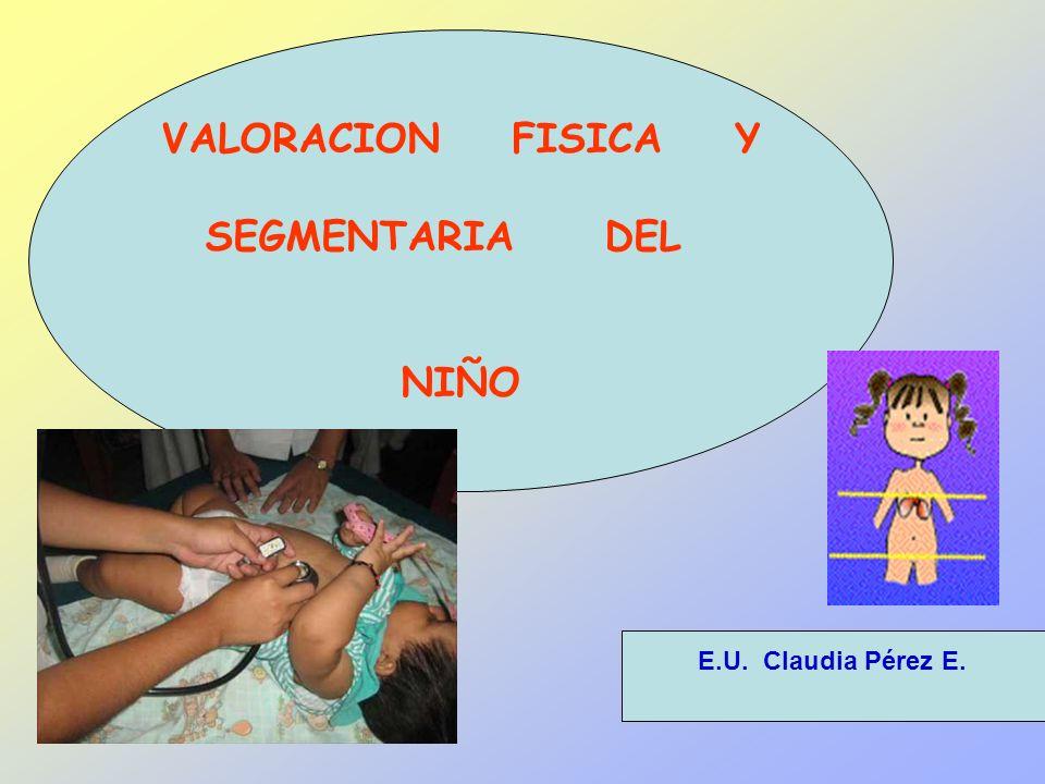 VALORACION FISICA Y SEGMENTARIA DEL NIÑO E.U. Claudia Pérez E.