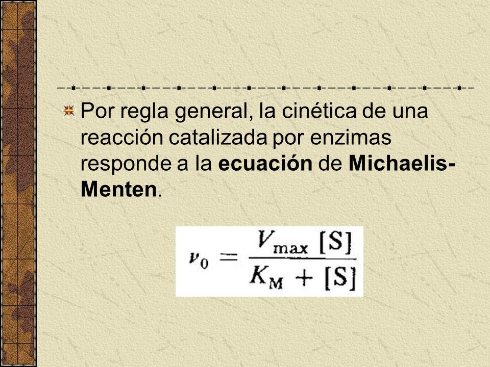 Por regla general, la cinética de una reacción catalizada por enzimas responde a la ecuación de Michaelis- Menten.