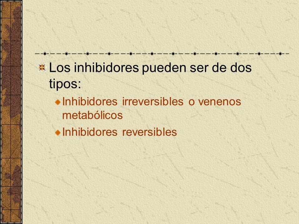 Los inhibidores pueden ser de dos tipos: Inhibidores irreversibles o venenos metabólicos Inhibidores reversibles