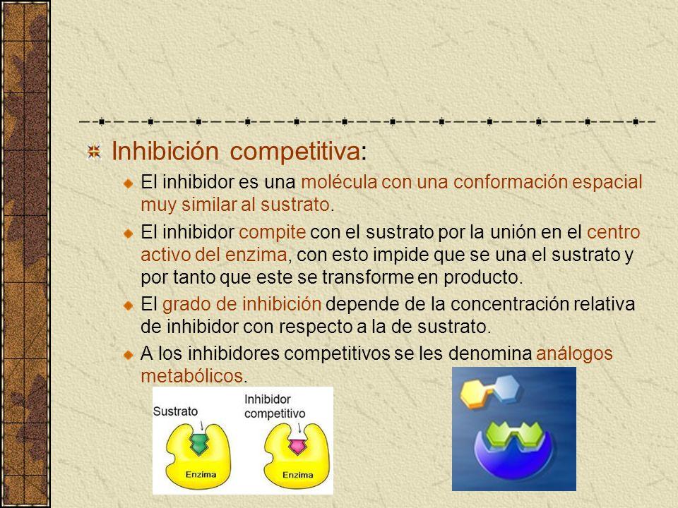 Inhibición competitiva: El inhibidor es una molécula con una conformación espacial muy similar al sustrato. El inhibidor compite con el sustrato por l