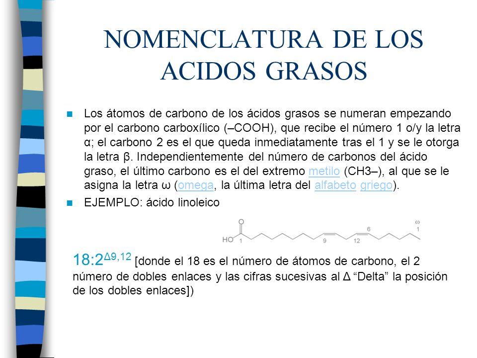 NOMENCLATURA DE LOS ACIDOS GRASOS Los átomos de carbono de los ácidos grasos se numeran empezando por el carbono carboxílico (–COOH), que recibe el nú