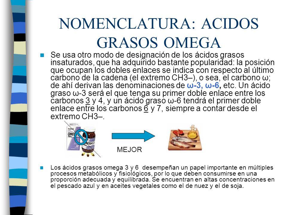 NOMENCLATURA: ACIDOS GRASOS OMEGA Se usa otro modo de designación de los ácidos grasos insaturados, que ha adquirido bastante popularidad: la posición