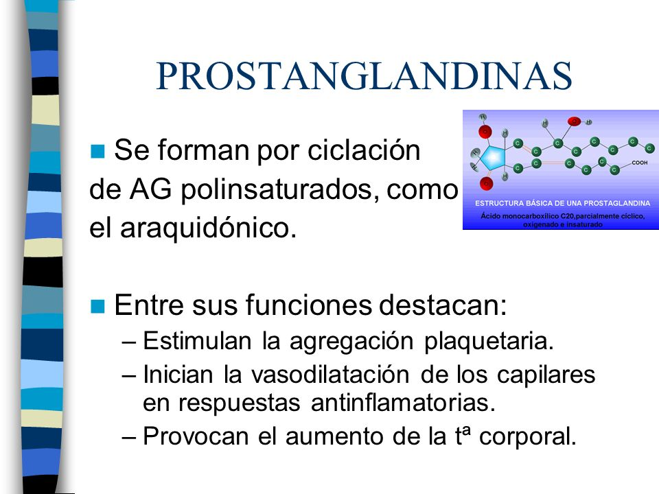 PROSTANGLANDINAS Se forman por ciclación de AG polinsaturados, como el araquidónico. Entre sus funciones destacan: –Estimulan la agregación plaquetari