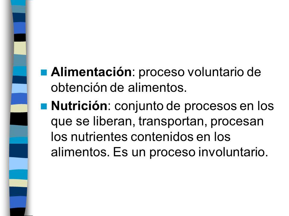 Alimentación: proceso voluntario de obtención de alimentos. Nutrición: conjunto de procesos en los que se liberan, transportan, procesan los nutriente