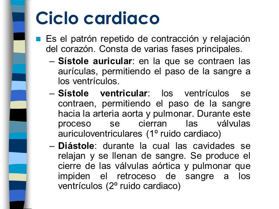 Ciclo cardiaco Es el patrón repetido de contracción y relajación del corazón.