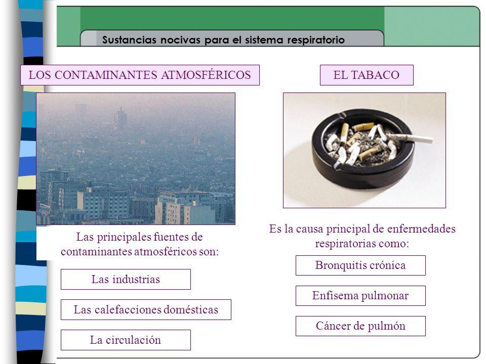 Sustancias nocivas para el sistema respiratorio EL TABACOLOS CONTAMINANTES ATMOSFÉRICOS Es la causa principal de enfermedades respiratorias como: Bron