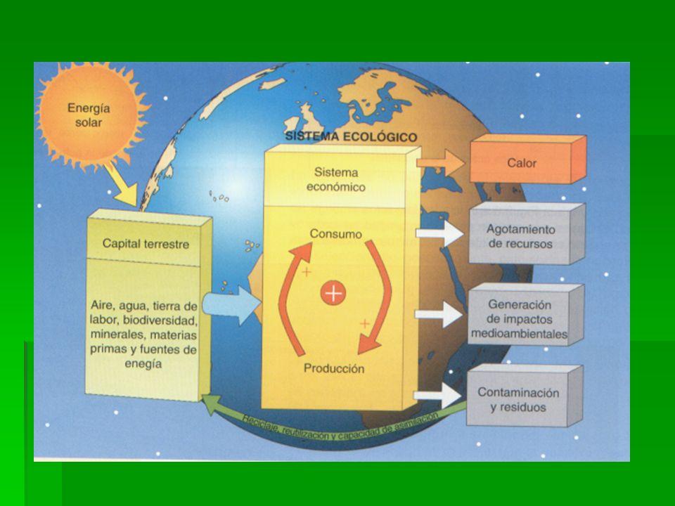 Economía y medio ambiente Sistema económico (basado en el consumo de recursos naturales) depende del sistema ecológico. Sistema económico (basado en e
