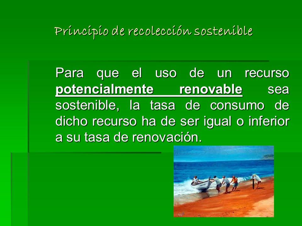 Principios del desarrollo sostenible 1.Principio de recolección sostenible 2.Principio de vaciado sostenible 3.Principio de emisión sostenible 4.Princ