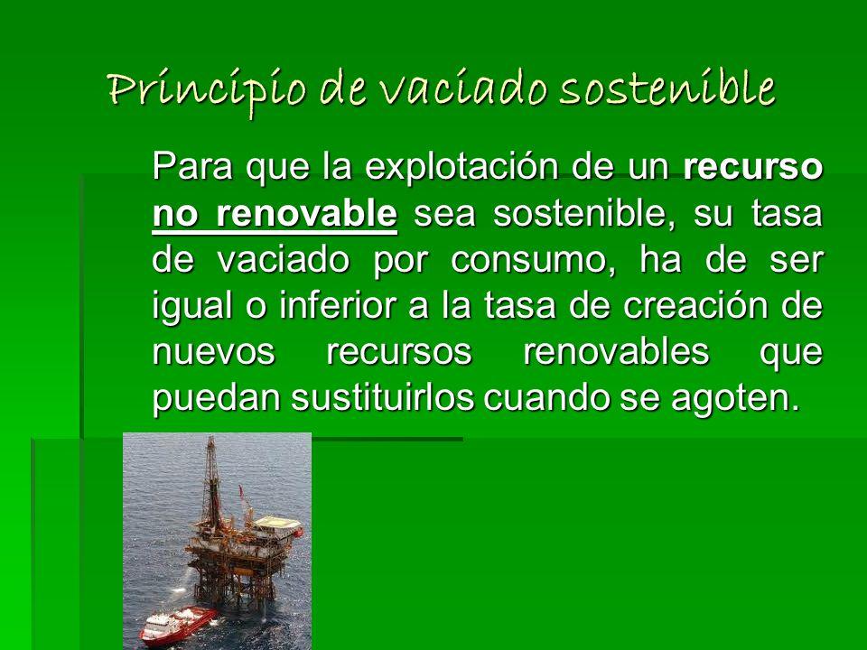 Principio de recolección sostenible Para que el uso de un recurso potencialmente renovable sea sostenible, la tasa de consumo de dicho recurso ha de s