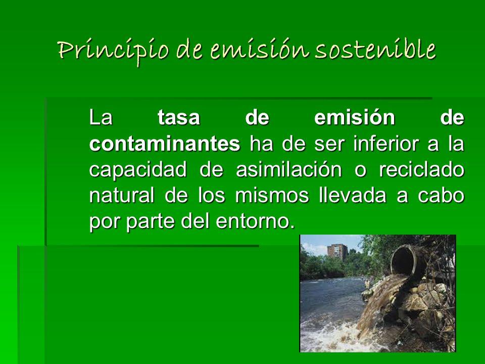 Principio de vaciado sostenible Para que la explotación de un recurso no renovable sea sostenible, su tasa de vaciado por consumo, ha de ser igual o i