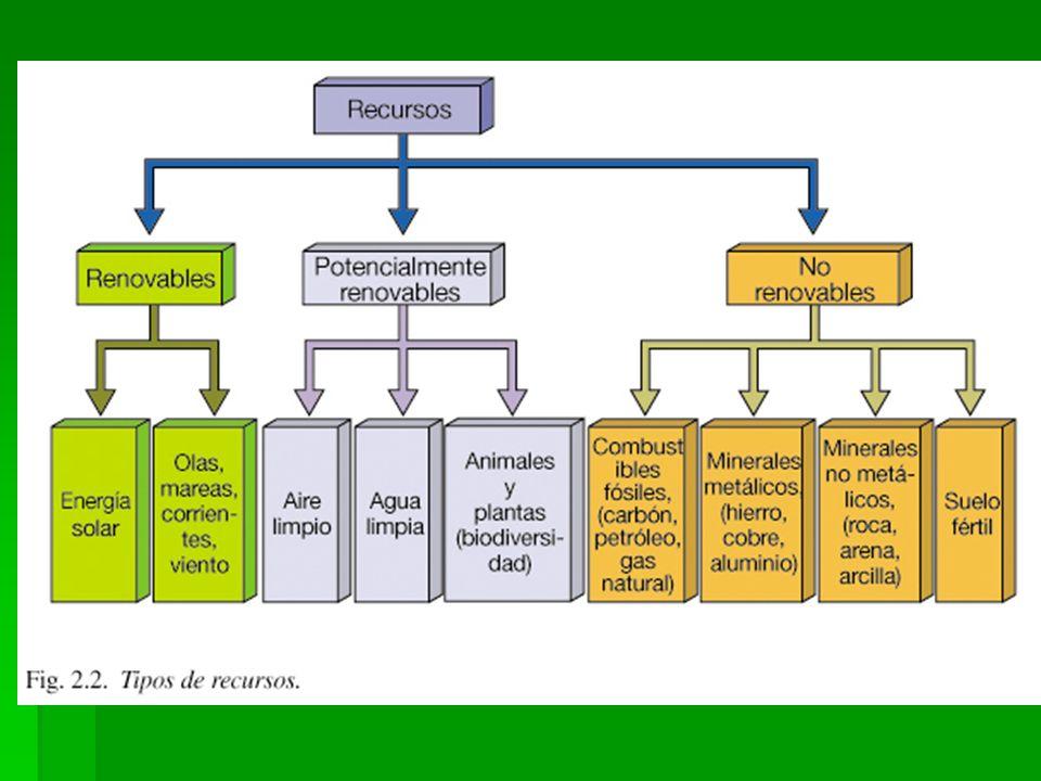 Clasificación de los recursos naturales ( Concepto de renovabilidad/escala de tiempo ) No renovables: Existen cantidades fijas sobre la corteza terres