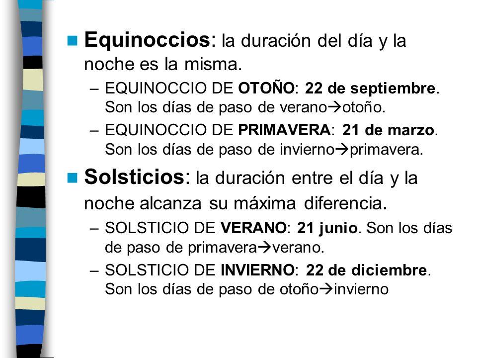 Equinoccios: la duración del día y la noche es la misma. –EQUINOCCIO DE OTOÑO: 22 de septiembre. Son los días de paso de verano otoño. –EQUINOCCIO DE