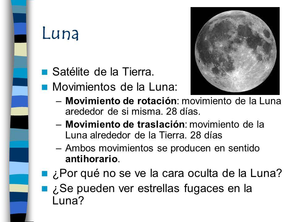 Luna Satélite de la Tierra. Movimientos de la Luna: –Movimiento de rotación: movimiento de la Luna arededor de si misma. 28 días. –Movimiento de trasl