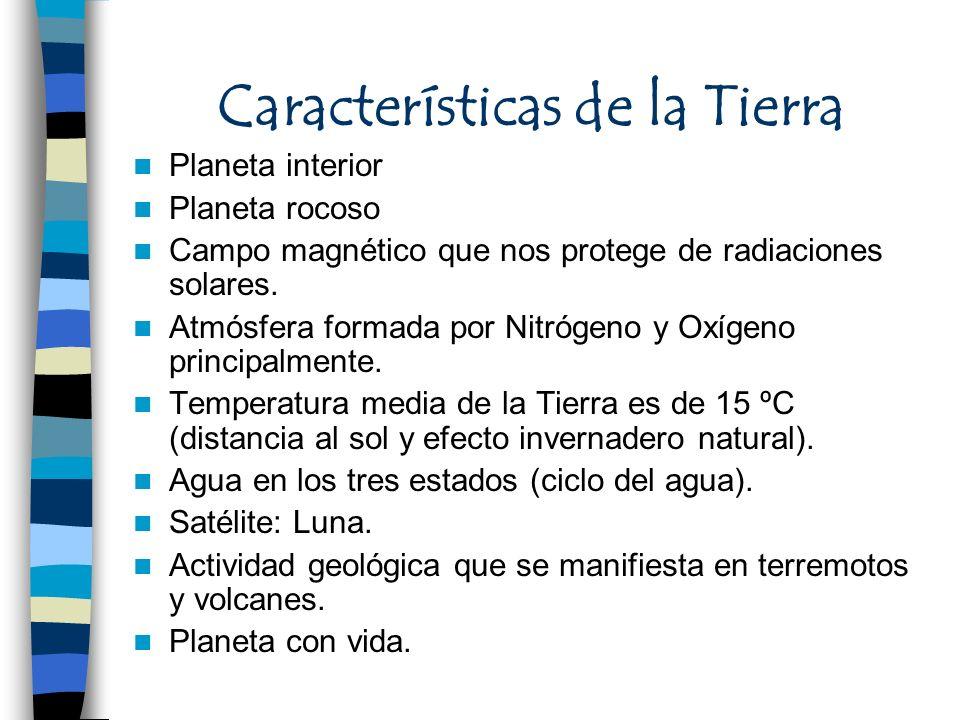 Características de la Tierra Planeta interior Planeta rocoso Campo magnético que nos protege de radiaciones solares. Atmósfera formada por Nitrógeno y