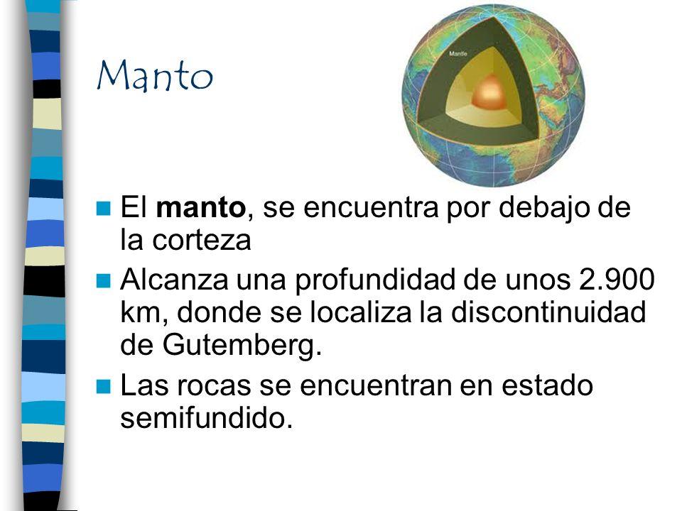 Manto El manto, se encuentra por debajo de la corteza Alcanza una profundidad de unos 2.900 km, donde se localiza la discontinuidad de Gutemberg. Las