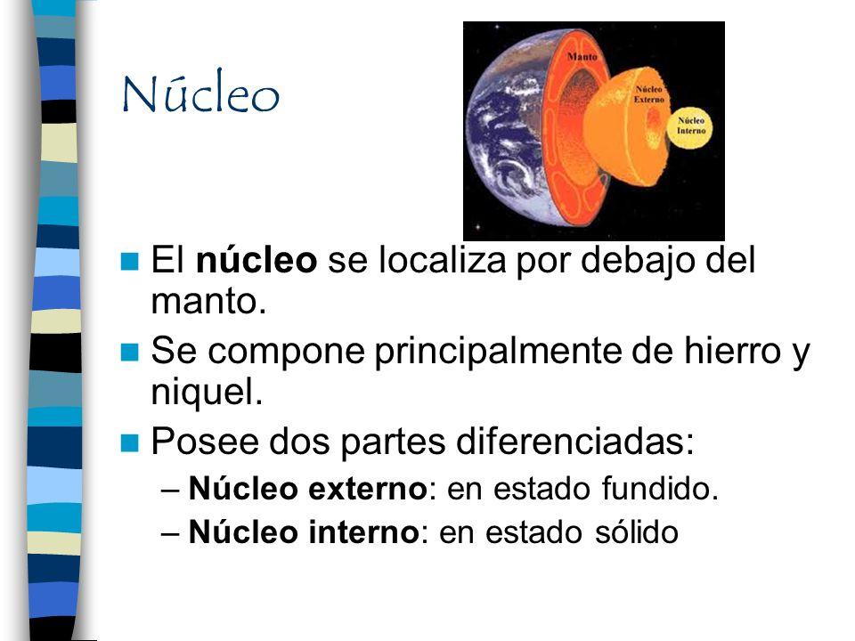Núcleo El núcleo se localiza por debajo del manto. Se compone principalmente de hierro y niquel. Posee dos partes diferenciadas: –Núcleo externo: en e