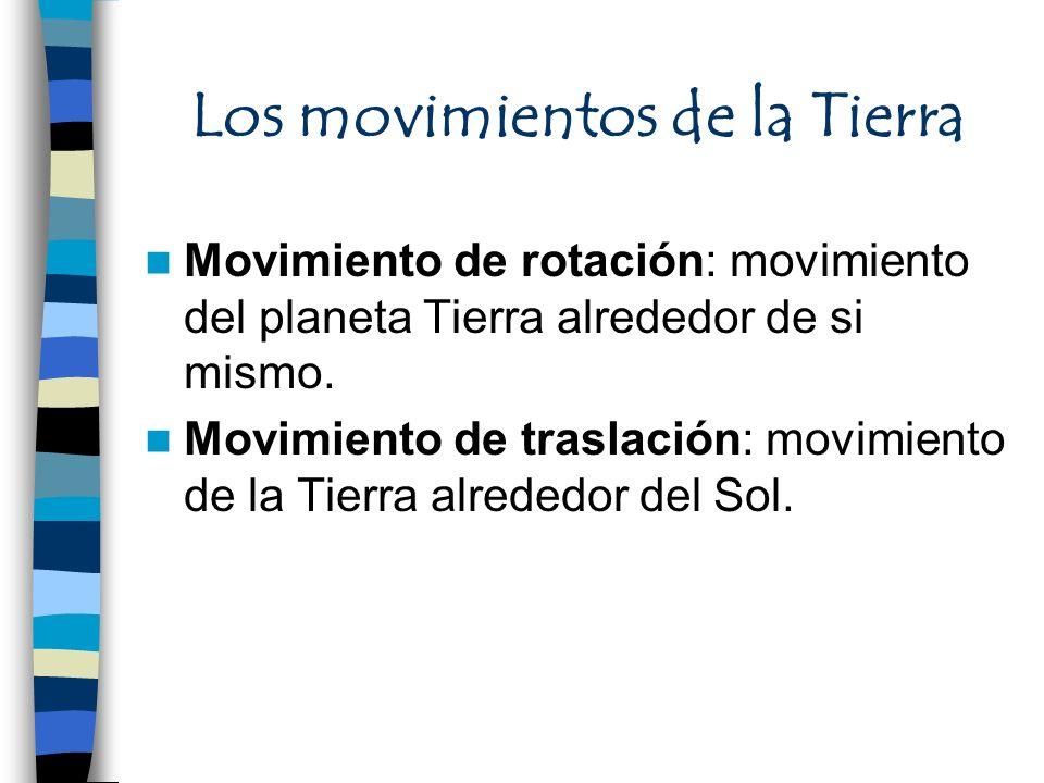 Los movimientos de la Tierra Movimiento de rotación: movimiento del planeta Tierra alrededor de si mismo. Movimiento de traslación: movimiento de la T