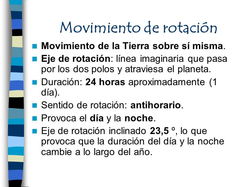 Movimiento de rotación Movimiento de la Tierra sobre sí misma. Eje de rotación: línea imaginaria que pasa por los dos polos y atraviesa el planeta. Du