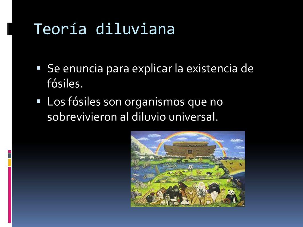 Teoría diluviana Se enuncia para explicar la existencia de fósiles. Los fósiles son organismos que no sobrevivieron al diluvio universal.