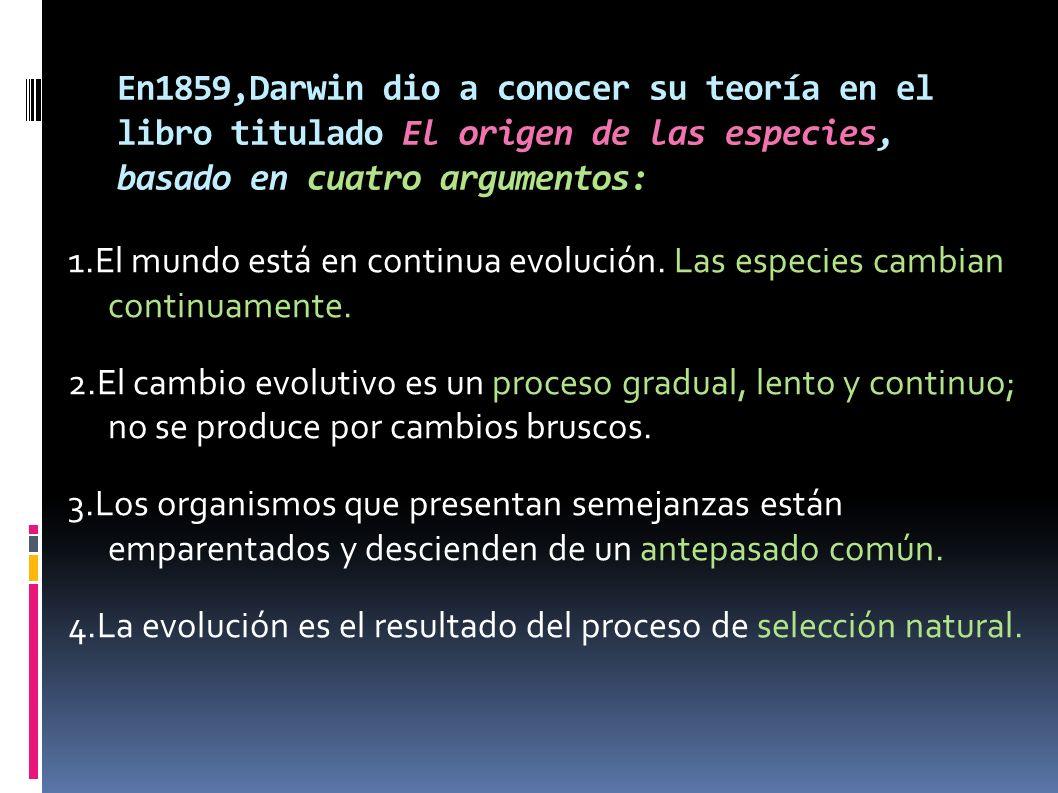 En1859,Darwin dio a conocer su teoría en el libro titulado El origen de las especies, basado en cuatro argumentos: 1.El mundo está en continua evoluci
