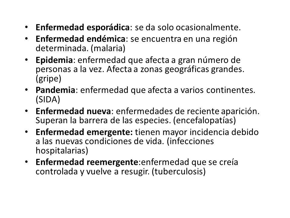 Enfermedad esporádica: se da solo ocasionalmente. Enfermedad endémica: se encuentra en una región determinada. (malaria) Epidemia: enfermedad que afec
