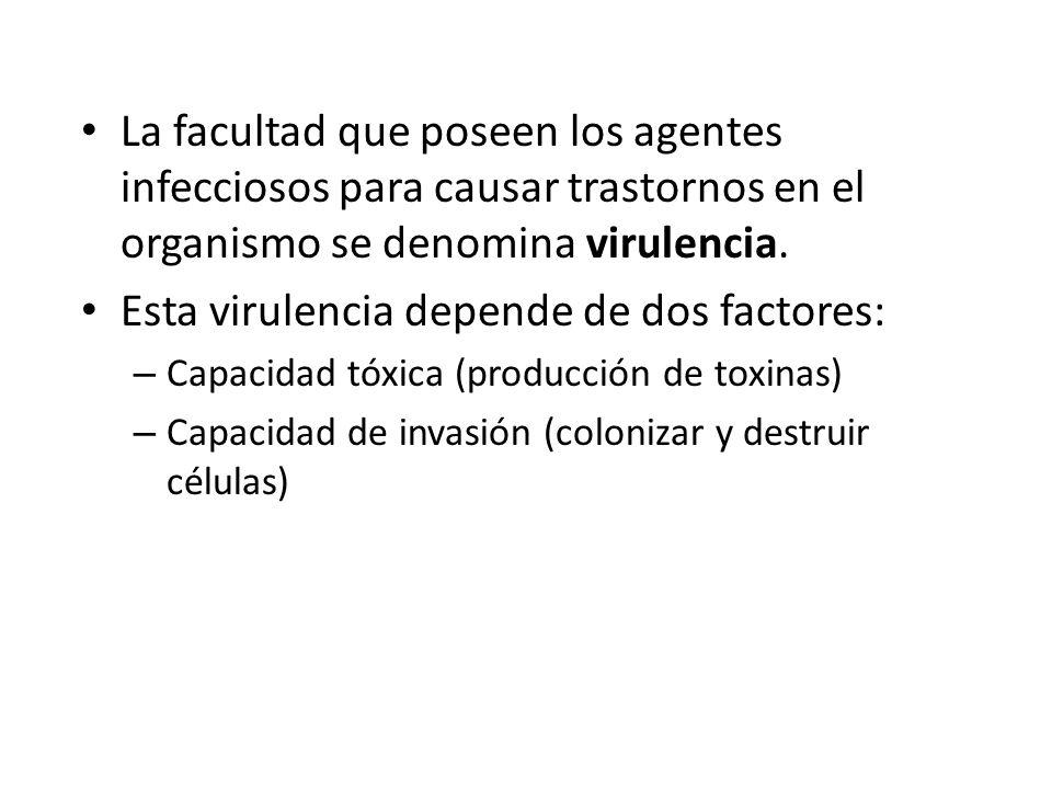 La facultad que poseen los agentes infecciosos para causar trastornos en el organismo se denomina virulencia. Esta virulencia depende de dos factores: