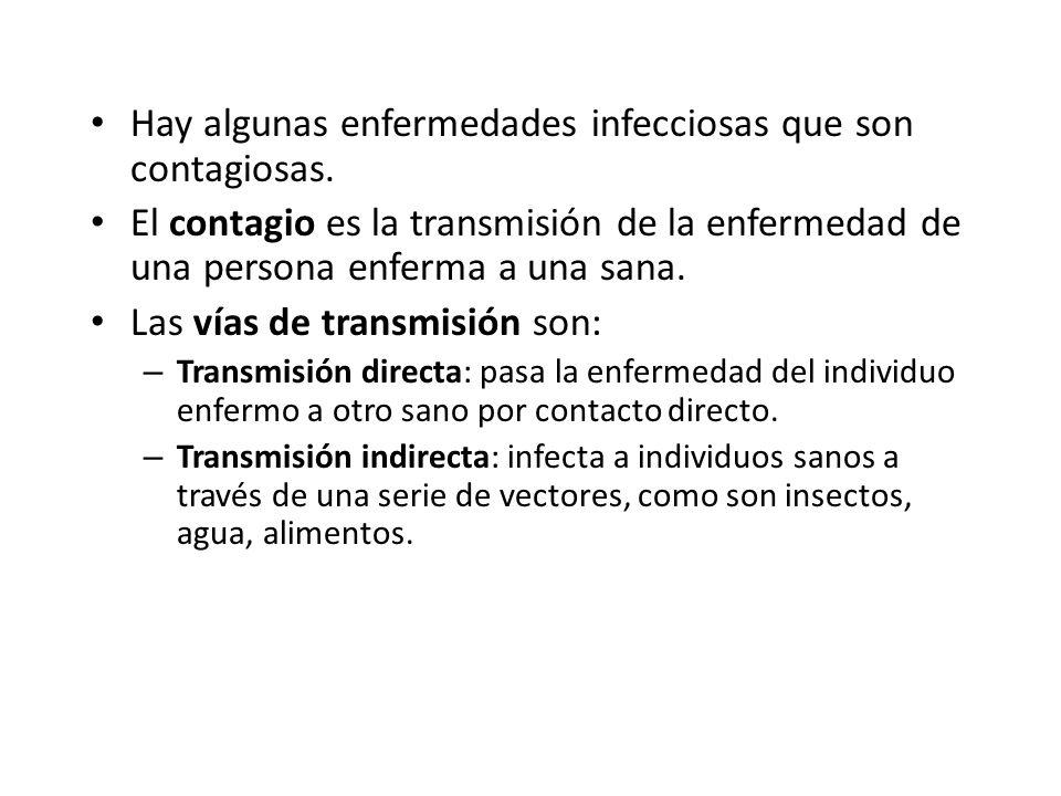 Hay algunas enfermedades infecciosas que son contagiosas. El contagio es la transmisión de la enfermedad de una persona enferma a una sana. Las vías d