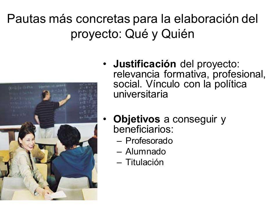 Pautas más concretas para la elaboración del proyecto: Qué y Quién Justificación del proyecto: relevancia formativa, profesional, social. Vínculo con
