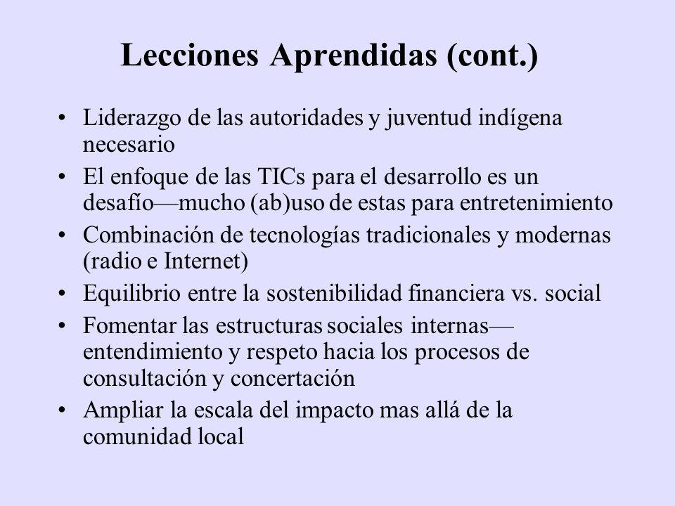 Liderazgo de las autoridades y juventud indígena necesario El enfoque de las TICs para el desarrollo es un desafíomucho (ab)uso de estas para entreten