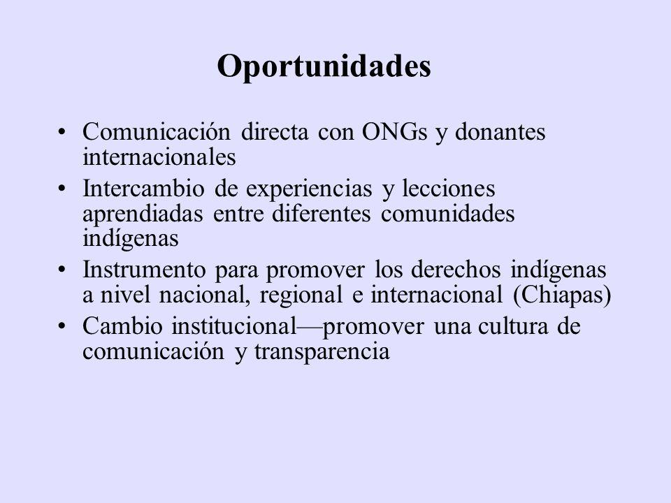 Oportunidades Comunicación directa con ONGs y donantes internacionales Intercambio de experiencias y lecciones aprendiadas entre diferentes comunidade