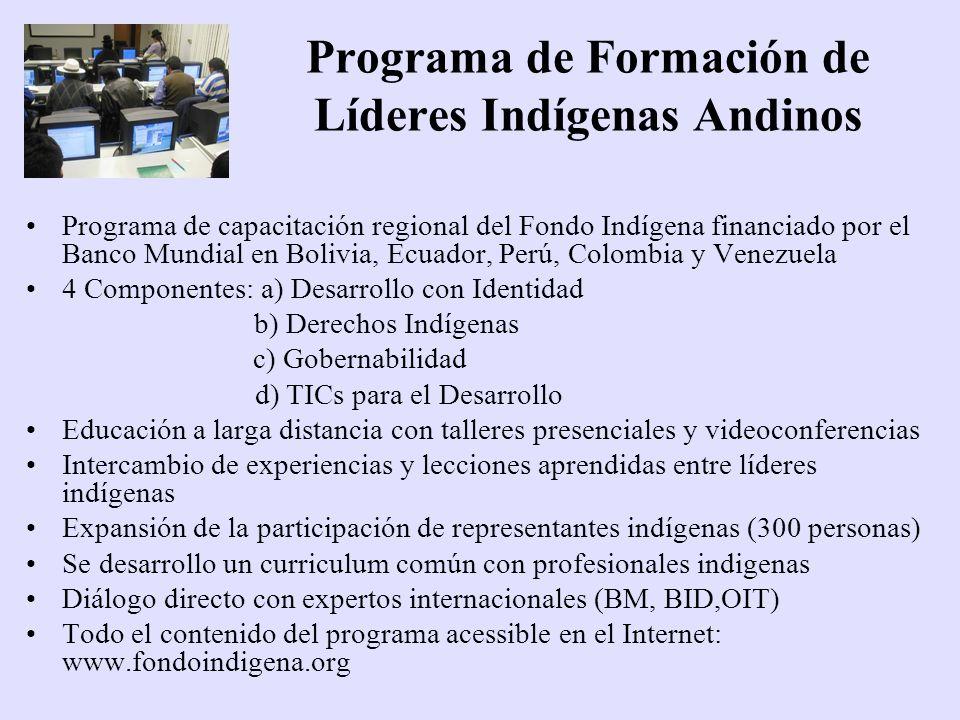 Programa de Formación de Líderes Indígenas Andinos Programa de capacitación regional del Fondo Indígena financiado por el Banco Mundial en Bolivia, Ec