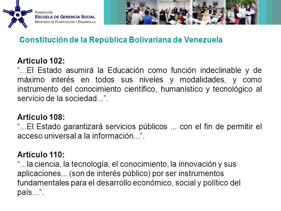 Incorporar las Tecnologías de la Información y la Comunicación (TIC) en el proceso educativo en el contexto de la descentralización y fortalecimiento de la democracia protagónica y participativa.