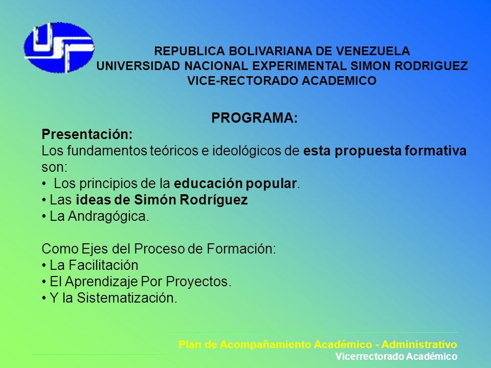Plan de Acompañamiento Académico - Administrativo Vicerrectorado Académico REPUBLICA BOLIVARIANA DE VENEZUELA UNIVERSIDAD NACIONAL EXPERIMENTAL SIMON
