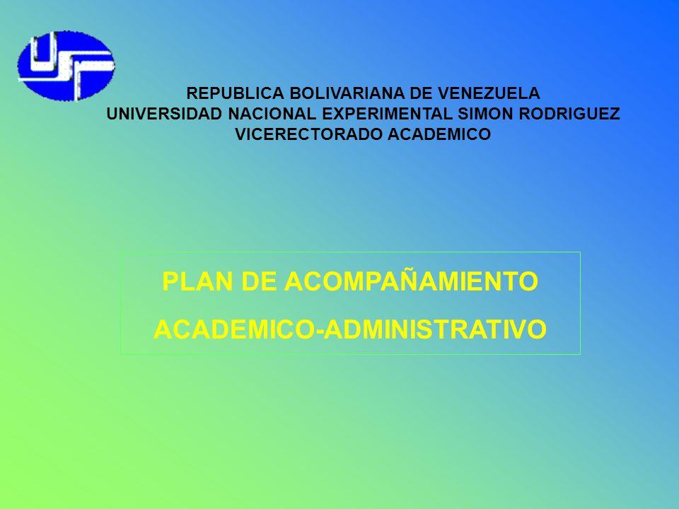 REPUBLICA BOLIVARIANA DE VENEZUELA UNIVERSIDAD NACIONAL EXPERIMENTAL SIMON RODRIGUEZ VICERECTORADO ACADEMICO PLAN DE ACOMPAÑAMIENTO ACADEMICO-ADMINIST