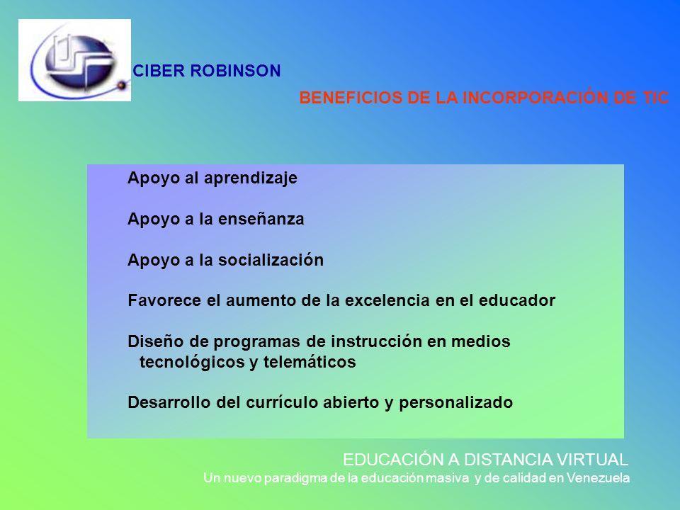 CIBER ROBINSON EDUCACIÓN A DISTANCIA VIRTUAL Un nuevo paradigma de la educación masiva y de calidad en Venezuela Apoyo al aprendizaje Apoyo a la enseñ