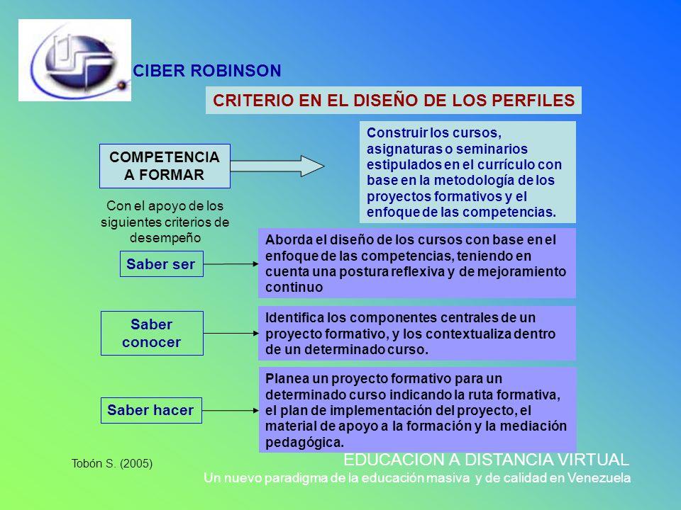 CIBER ROBINSON EDUCACIÓN A DISTANCIA VIRTUAL Un nuevo paradigma de la educación masiva y de calidad en Venezuela CRITERIO EN EL DISEÑO DE LOS PERFILES