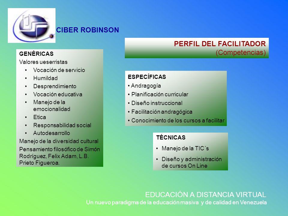 CIBER ROBINSON EDUCACIÓN A DISTANCIA VIRTUAL Un nuevo paradigma de la educación masiva y de calidad en Venezuela GENÉRICAS Valores ueserristas Vocació