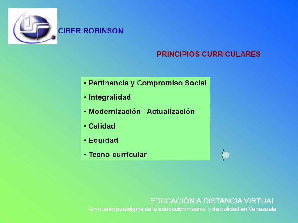 CIBER ROBINSON EDUCACIÓN A DISTANCIA VIRTUAL Un nuevo paradigma de la educación masiva y de calidad en Venezuela PRINCIPIOS CURRICULARES Pertinencia y
