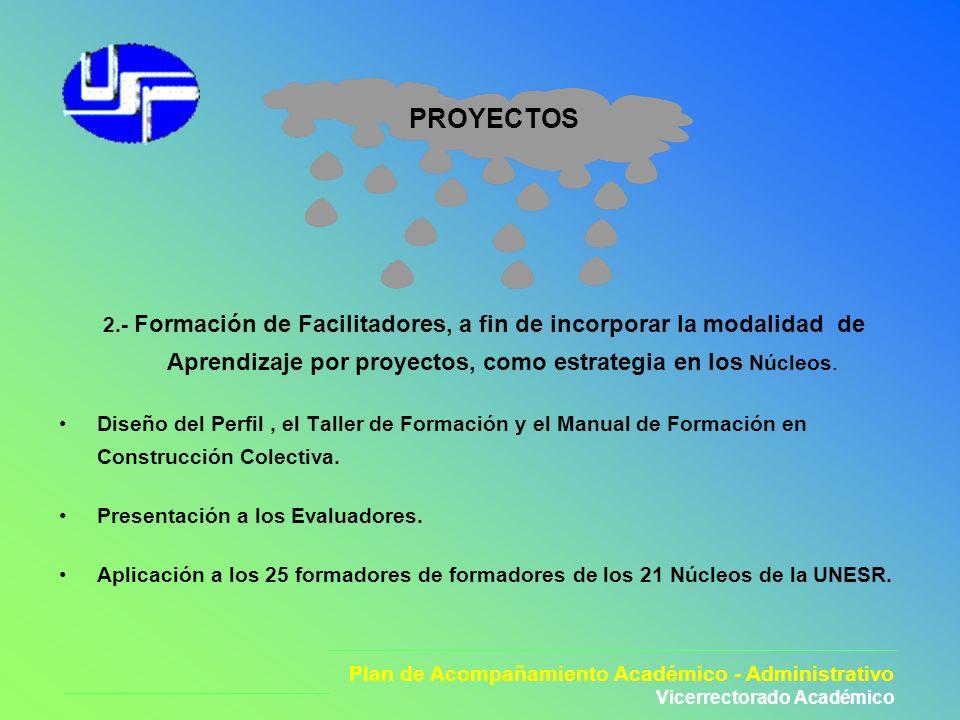 Plan de Acompañamiento Académico - Administrativo Vicerectorado Académico PROYECTOS 3.