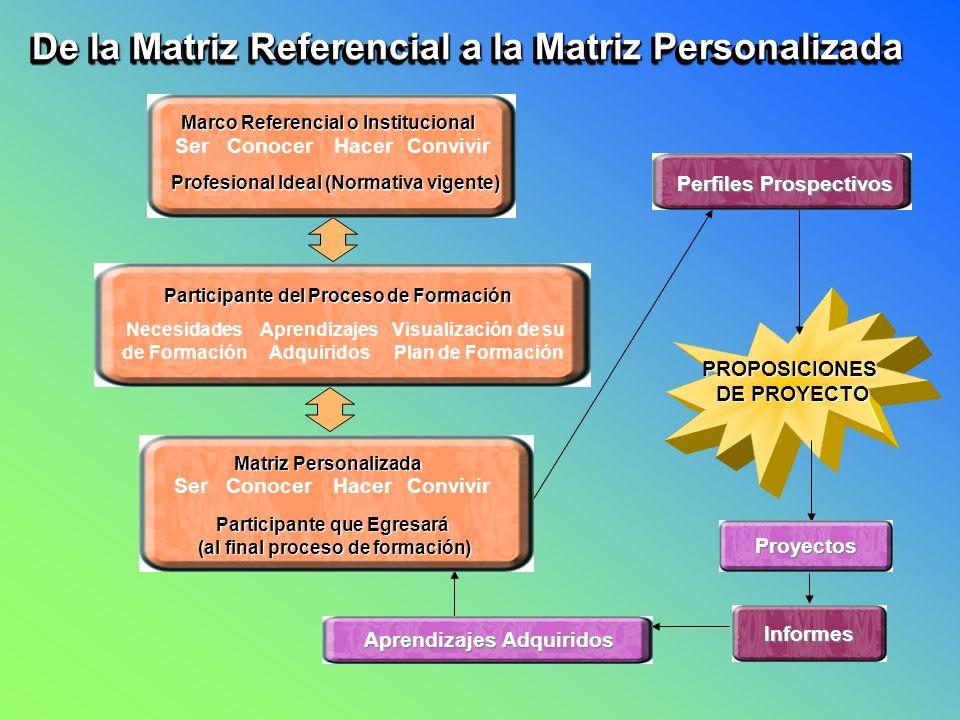 PROPOSICIONES DE PROYECTO DE PROYECTO De la Matriz Referencial a la Matriz Personalizada SerConocerHacerConvivir Marco Referencial o Institucional Pro