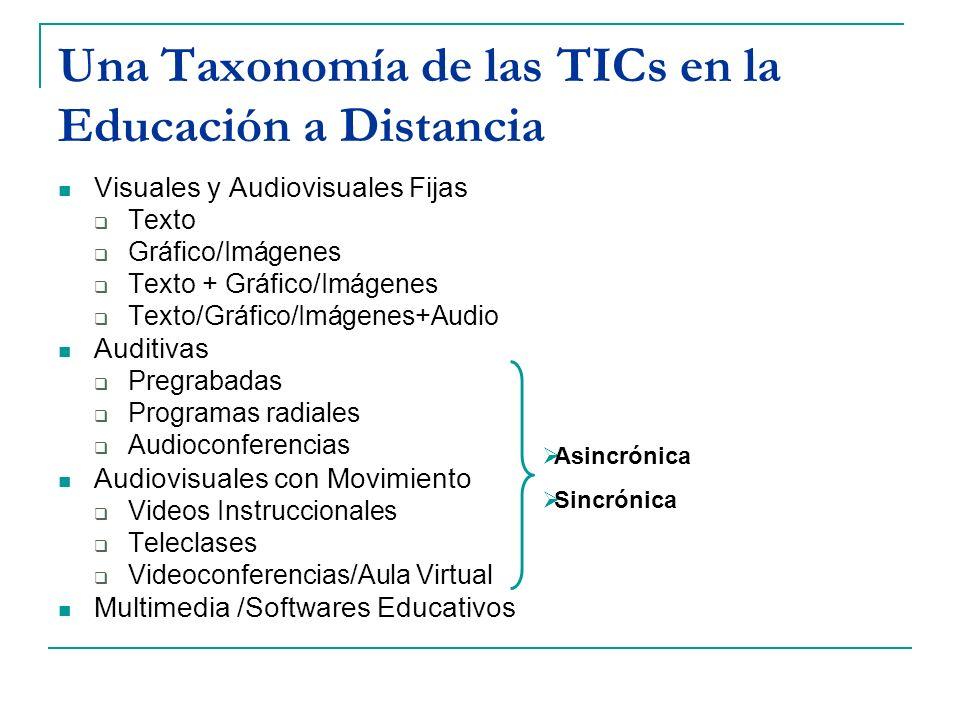 Una Taxonomía de las TICs en la Educación a Distancia Visuales y Audiovisuales Fijas Texto Gráfico/Imágenes Texto + Gráfico/Imágenes Texto/Gráfico/Imá
