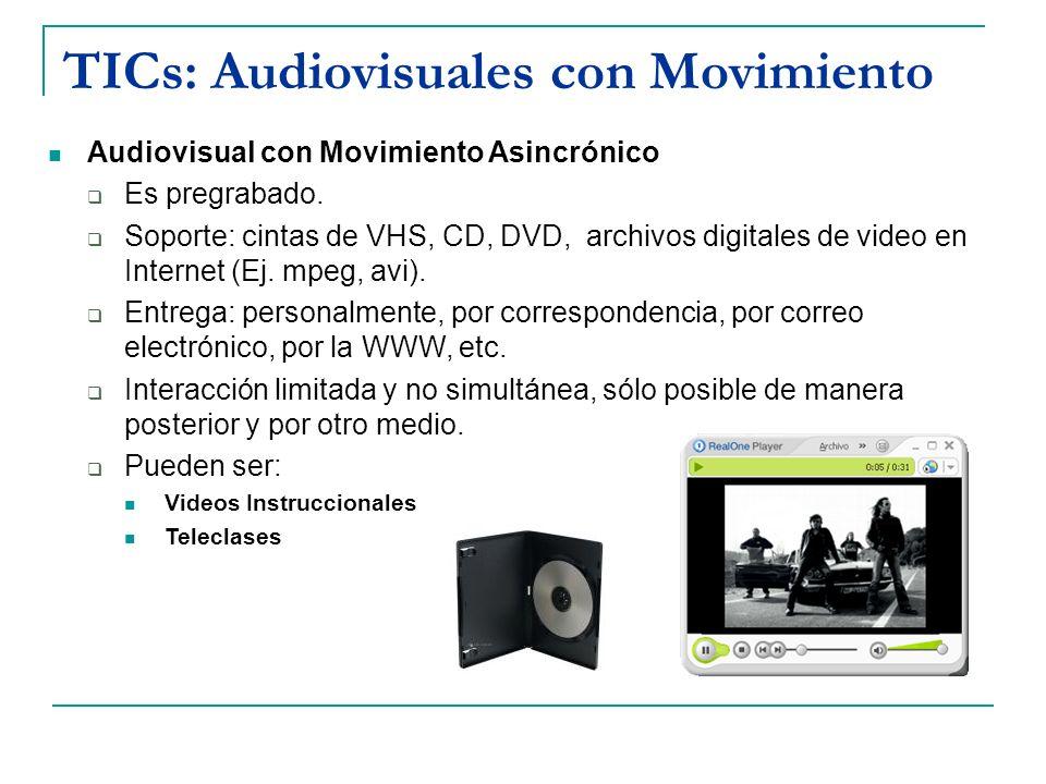 TICs: Audiovisuales con Movimiento Audiovisual con Movimiento Asincrónico Es pregrabado. Soporte: cintas de VHS, CD, DVD, archivos digitales de video