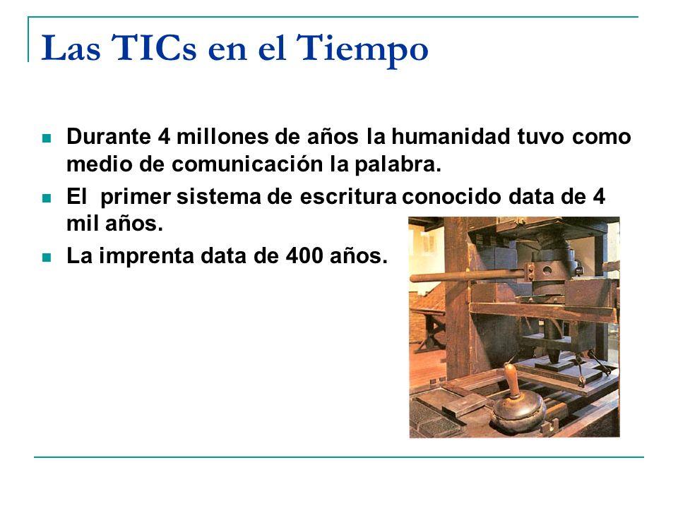 Las TICs en el Tiempo Durante 4 millones de años la humanidad tuvo como medio de comunicación la palabra. El primer sistema de escritura conocido data