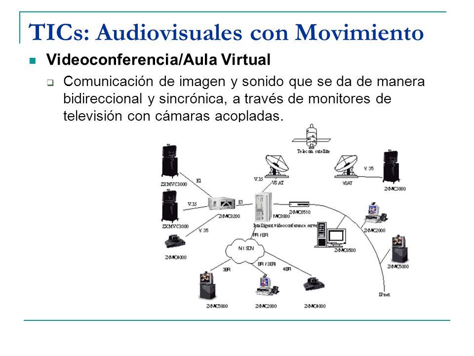 TICs: Audiovisuales con Movimiento Videoconferencia/Aula Virtual Comunicación de imagen y sonido que se da de manera bidireccional y sincrónica, a tra