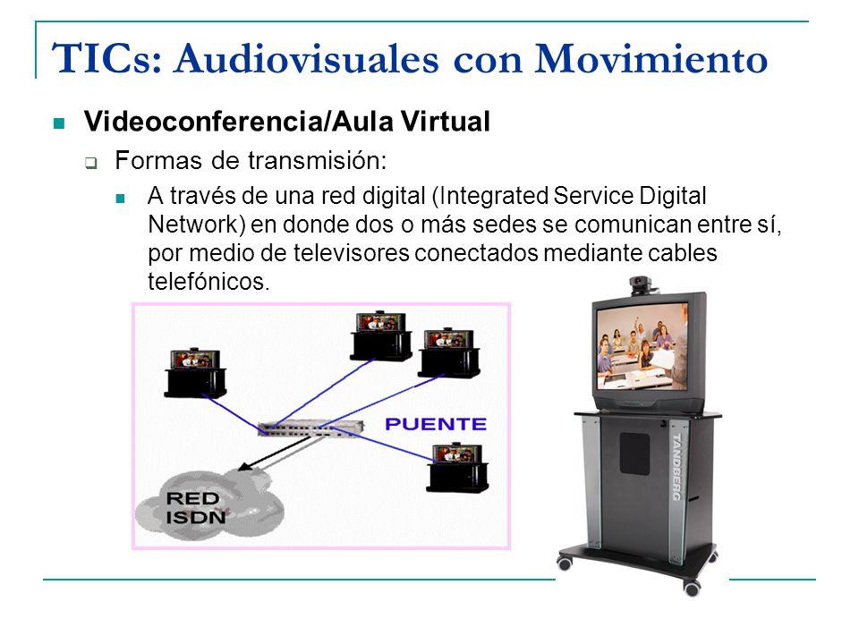 TICs: Audiovisuales con Movimiento Videoconferencia/Aula Virtual Formas de transmisión: A través de una red digital (Integrated Service Digital Networ